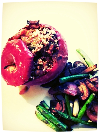 Paleo Stuffed Apples - Chicken Sausage, Fig and Pecans