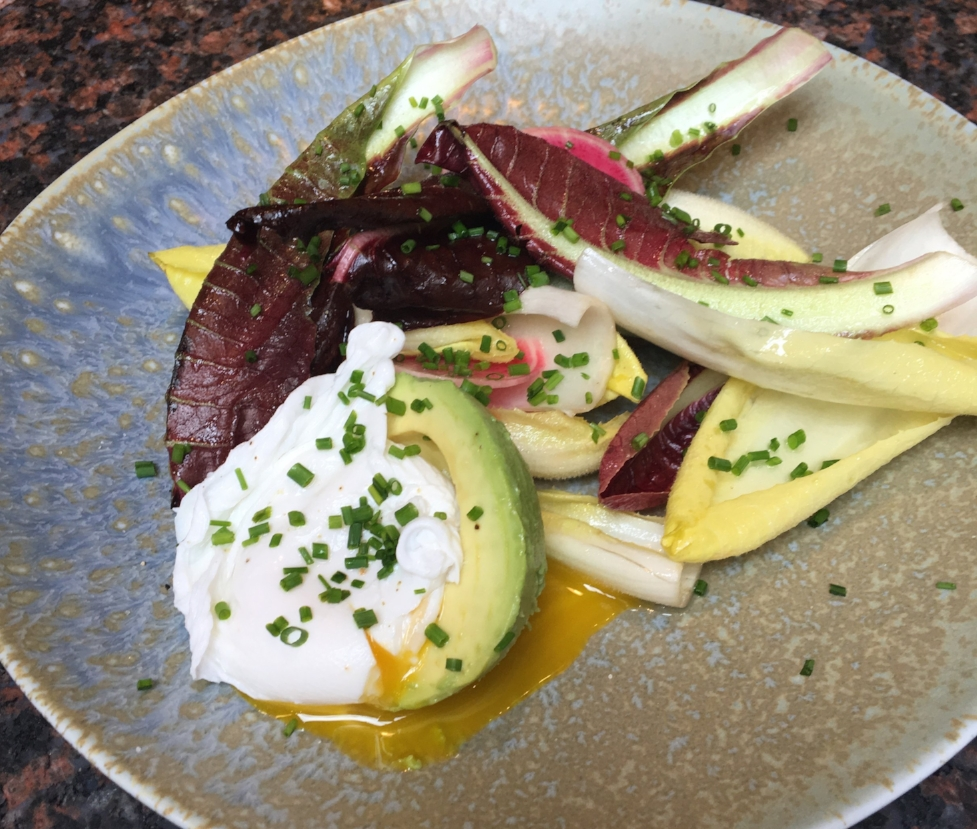 Endive and Radish Salad with Avocado and Poached Egg and Citrus Vinaigrette.
