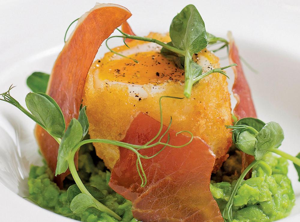 Atherton's Signature 'Egg, ham & peas' starter