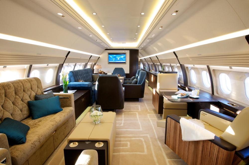 The A319 Corporate Jet is noticeably roomier than similar aircrafts like the Gulfstream 550 and Bombardier Global Express.