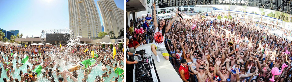 Patrons flock to the ultra pool for its fun-filled antics and world class dance music.DJ Steve Aoki (pictured right) putting on a show.
