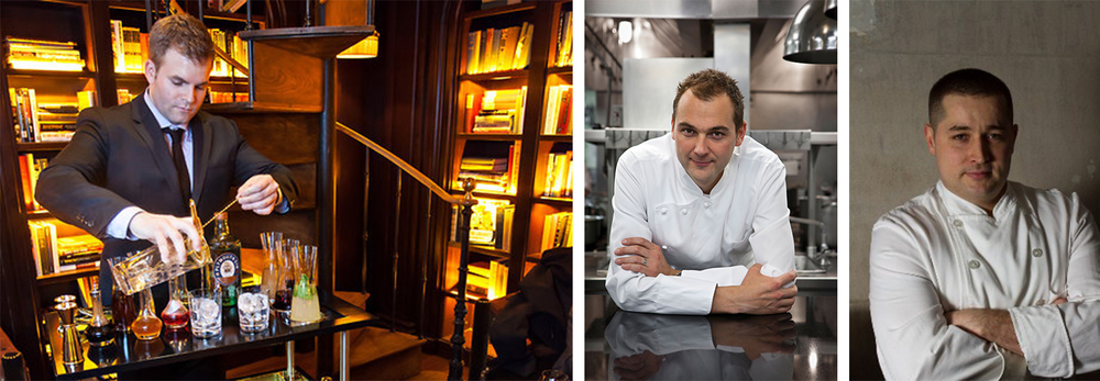 Foodie Paradise: Guests will be treated to Leo Robitschek's (Left) cocktails and snacks by Chef Daniel Humm (Center) and Chef James Kent (Right).