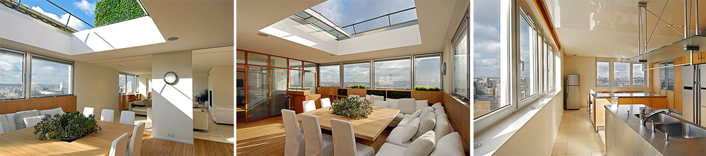 The dining area can fit up to 10 people and features a retractable skylight perfect for the warm summer months. The Kitchen is fitted with designer kitchen appliance and equipment.