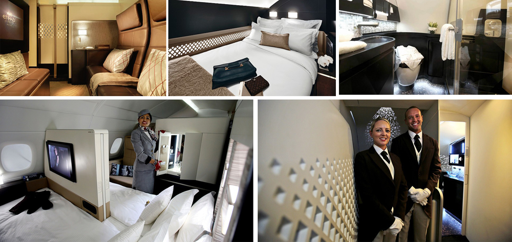 """""""The Residence by Etihad"""" give travelers their very own private three-room suite that features its own double-bedroom, ensuite shower, living room and access to a Savoy Academy trained butler."""