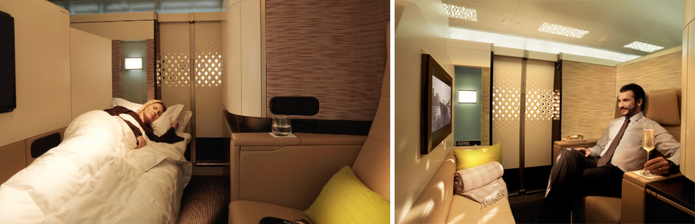 Etihad's First Apartment offer individual traveler its very own private suite that includes its own reclining lounge seat and full length bed.