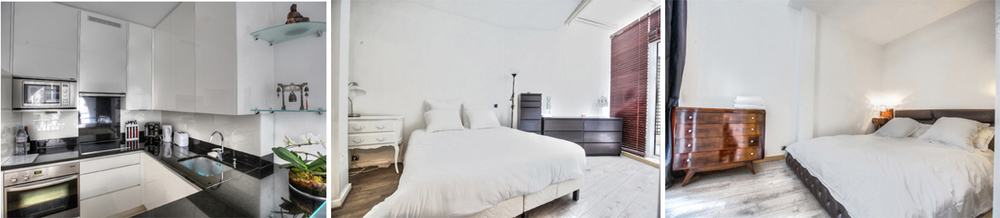 This Parisian flat is  'home away from home' featuring a fully equipped and efficient kitchen and two plushly furnished bedrooms each with its own uber comfortable queen size beds.