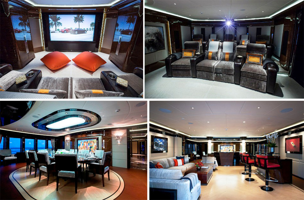 The interior of the yacht is light and welcoming and includes amenities like a private cinema, formal dining area, and a relaxing lounge space.