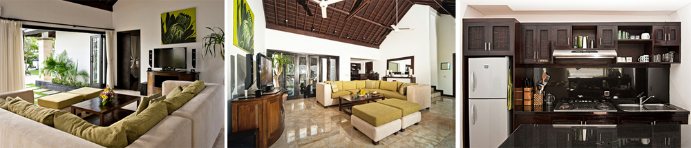 The interiors incorporates traditional Balinese stylings blending seamlessly with the surrounding tropical greenery and ocean views.