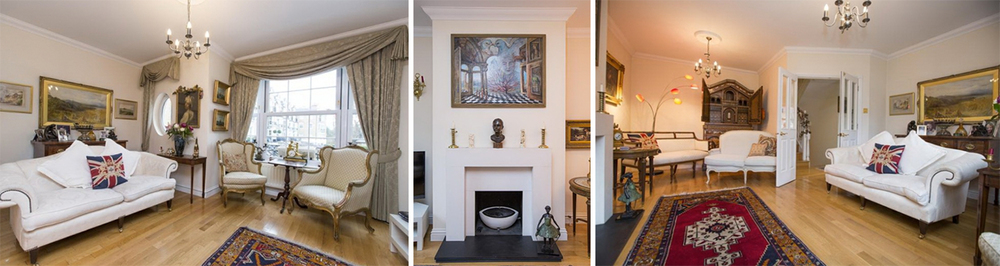 The townhouse's living area manages to be cosy yet opulent, featuring many beautiful oil paintings and antiques.