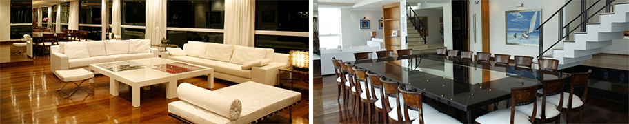 The open plan living area provides plenty of space for entertaining and sumptuous living.