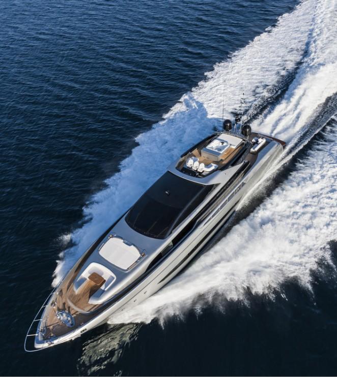 Aerial view of Mythos Yacht underway