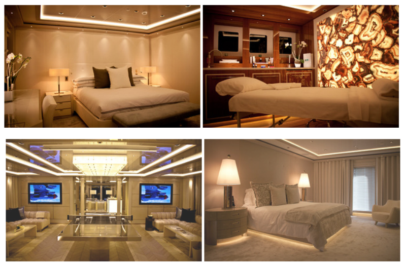 Top: VIP Cabin, Spa, Bottom: Game Room, Master Cabin