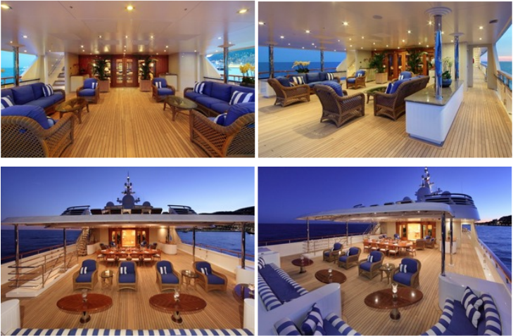 Top: Main Deck Aft, Main Deck Aft Starboard, Bottom: Upper Deck Aft,  Upper Deck Aft with Moveable Chairs