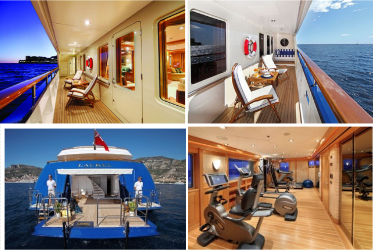 Top: Owners Port Veranda, Owners Starboard Veranda. Bottom: Beach Club, Gym on sundeck