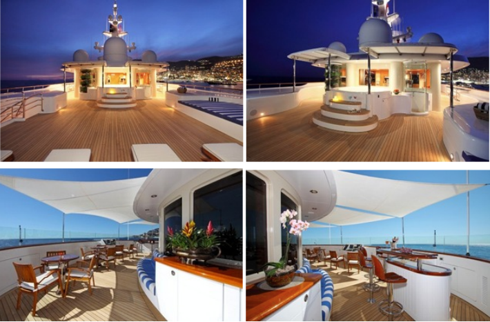 Top: Sun Deck Overview with Jacuzzi & Shower, Bottom: Sun Deck forward