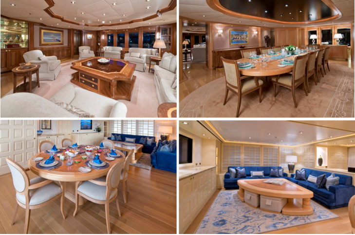 Top: Main Salon, Dining Salon, Bottom: Sky Lounge Dining, Sky Lounge Seating