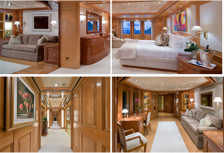 Top: Master Stateroom Office, Master Stateroom. Bottom: Master Stateroom Hallway, Office Entry
