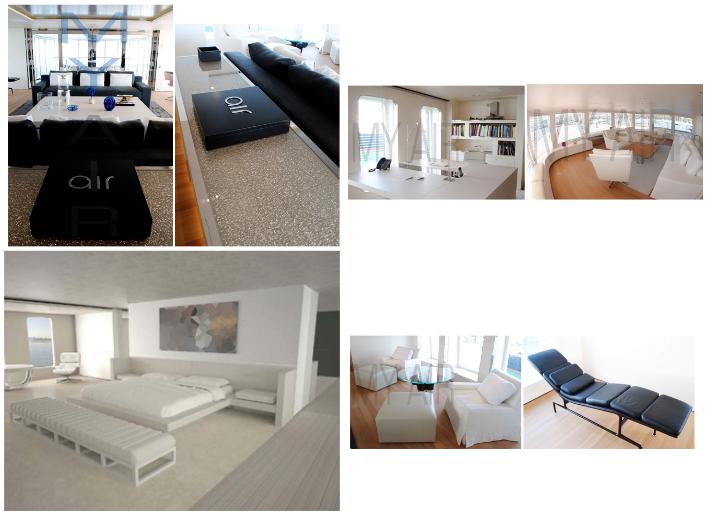 Top: Left Bridge Deck Salon, Right Master Study & Observation Lounge, Bottom: Master & Bridge Deck