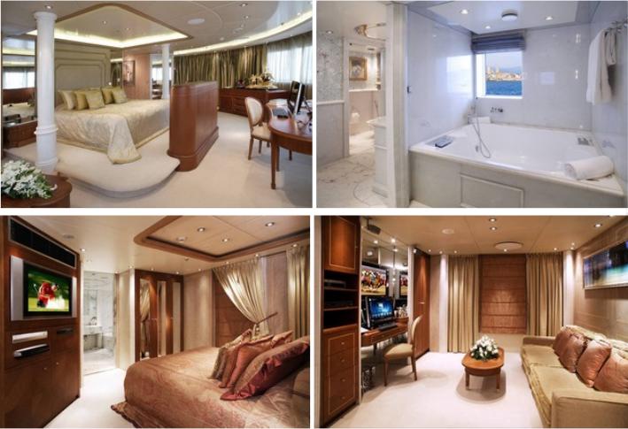 TOP: Deck 4 Master Suite & Master Bathroom. Bottom: Deck 5 VIP Cabin & VIP Office