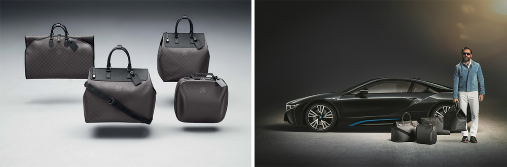 The Louis Vuitton BMW i8 collection features a large Weekender, a  smaller Weekender, Garment Bag and a Business Case.