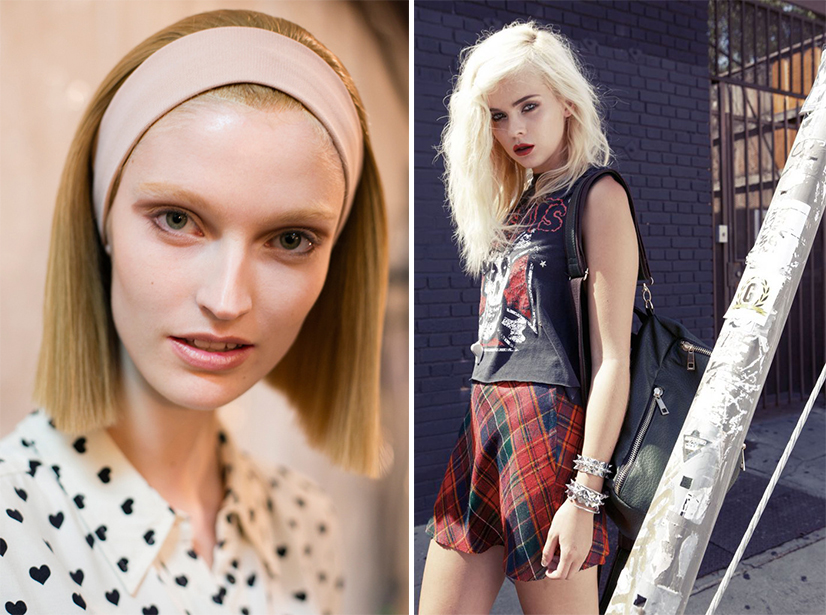 The 'So 90s' sees the return of the very straight minimal hair (left) and rougher and looser Grunge look