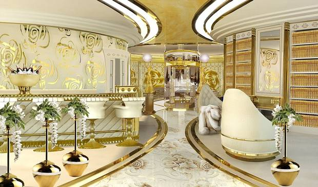 Luxury interior decorated in gold, white and ivory