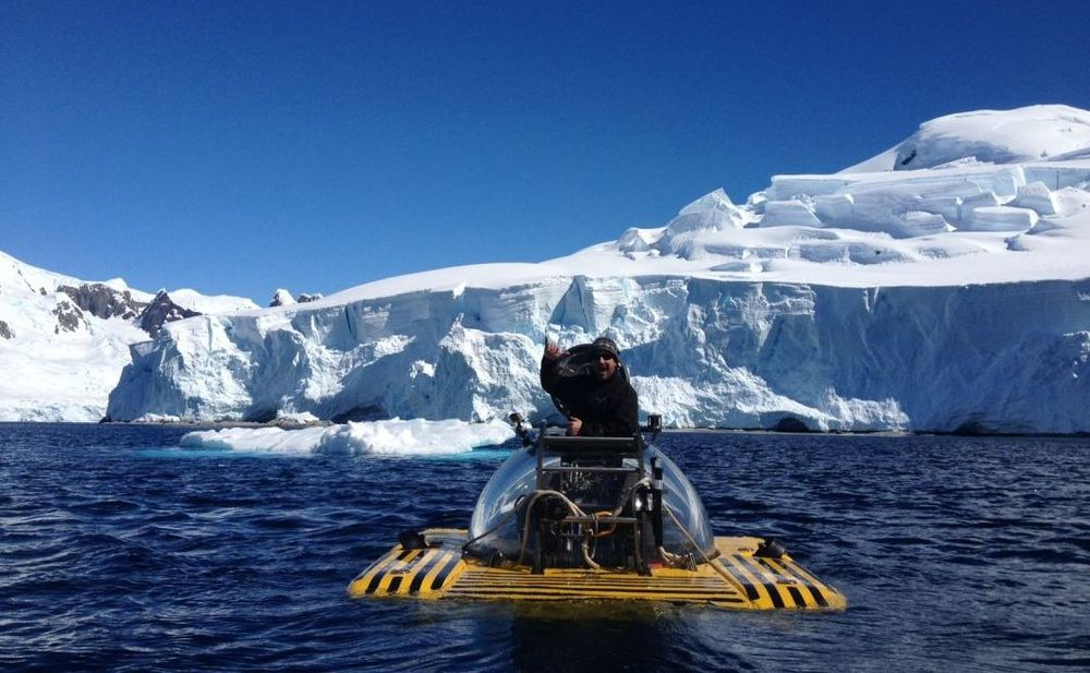 Triton Submarines pilot, Jim Harris, in a Triton 1000/2 in AntarcticA