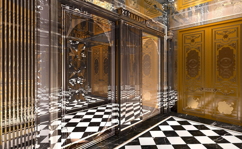 The lobby of the private elevator in Villa du Comte, photo credit: Louis XIII