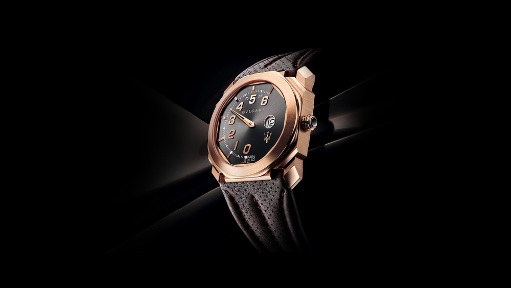The GranLusso has an 18k pink gold case and a grey sunburst dial.