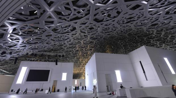 A general view shows part of the Louvre Abu Dhabi Museum designed by French architect Jean Nouvel; Image Credit: AFP