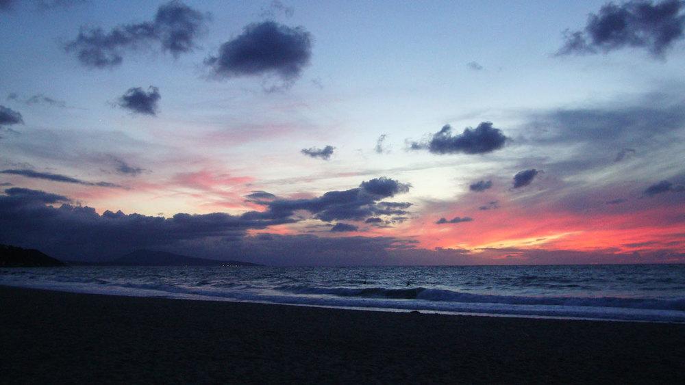 Coucher de soleil sur la plage de Bidart