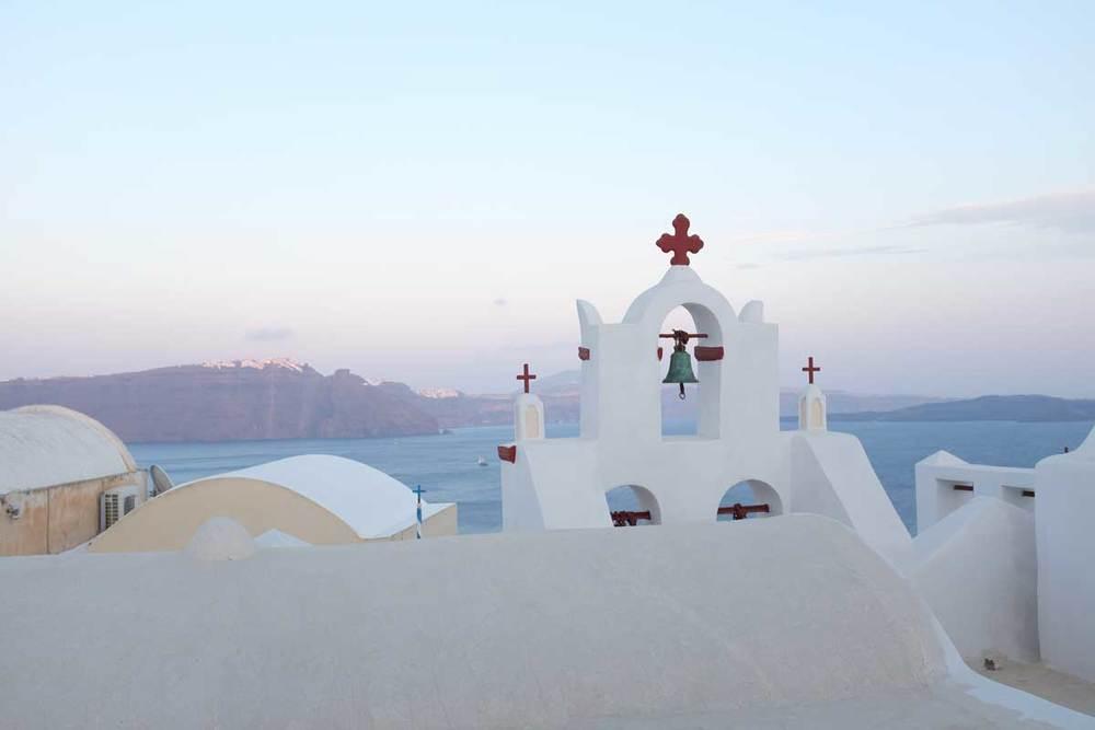 Les couleurs d'Oia au coucher du soleil, Santorin, les cyclades, Grèce