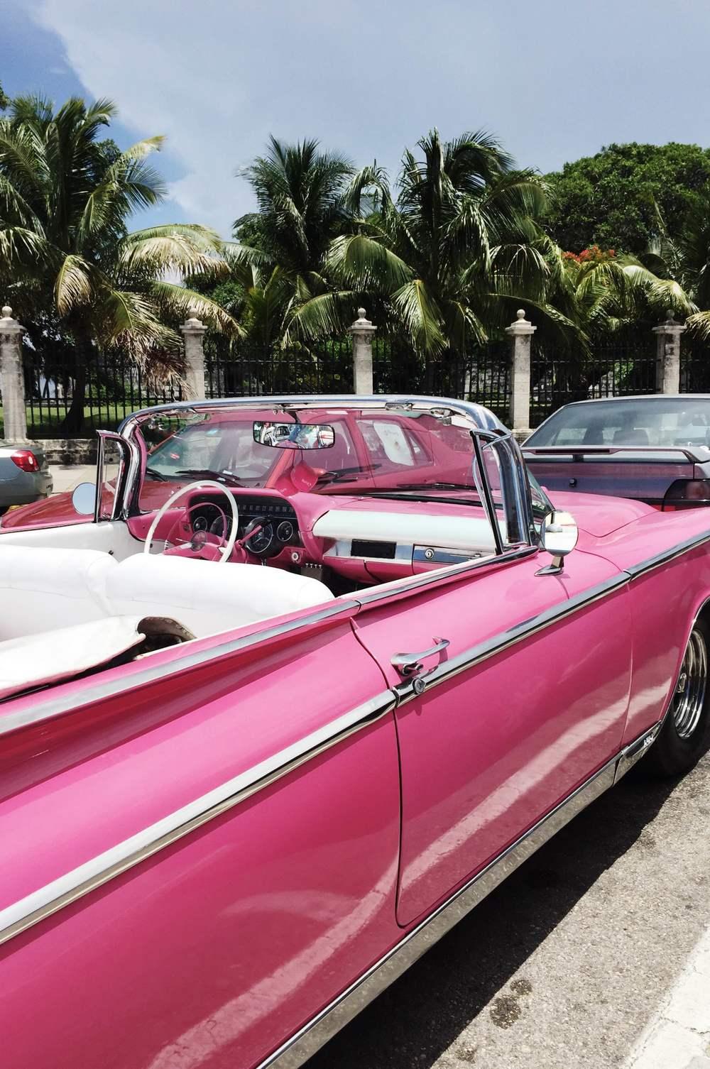 miss cloudy cuba travel guide la havana old car pink