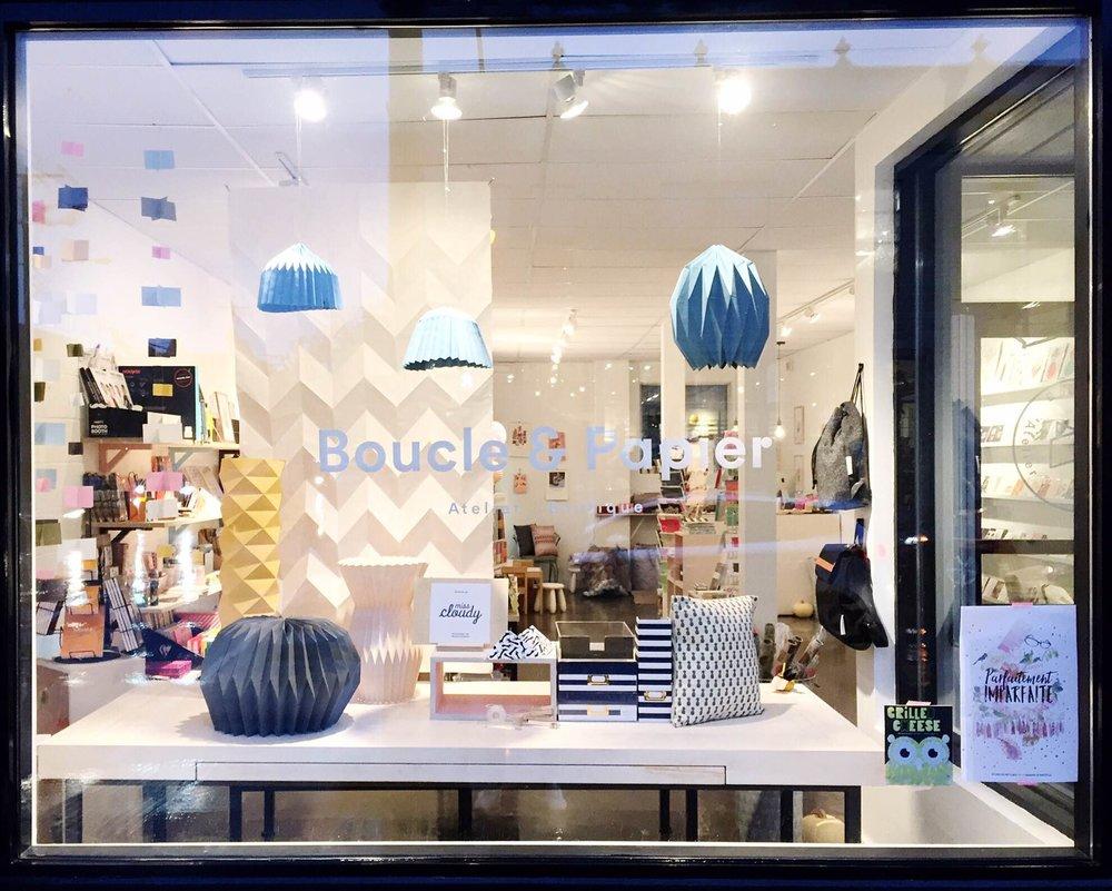 Vitrine de la boutique Boucle & papier, Montréal, CA