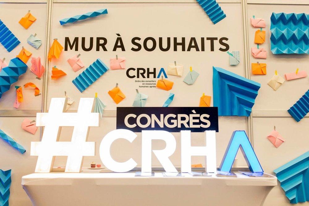 Mur collaboratif créé pour le congrès CRHA 2017, Palais des congrès Montréal