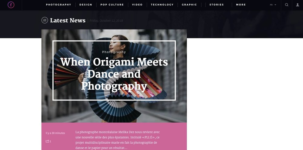 Fubiz, When Origami Meets Dance and Photography, octobre 2018 - Read Full Article, Click here.