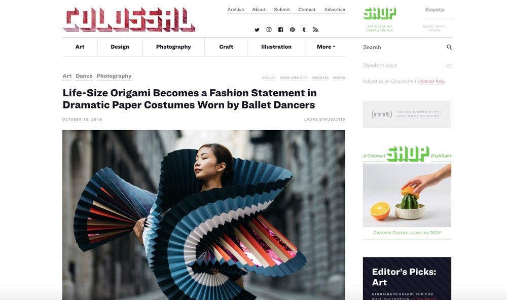 Colossal, Life-Size Origami Becomes a Fashion Statement in Dramatic Paper Costumes Worn by Ballet Dancers,15 octobre 2018 - Read Full Article, Click here.