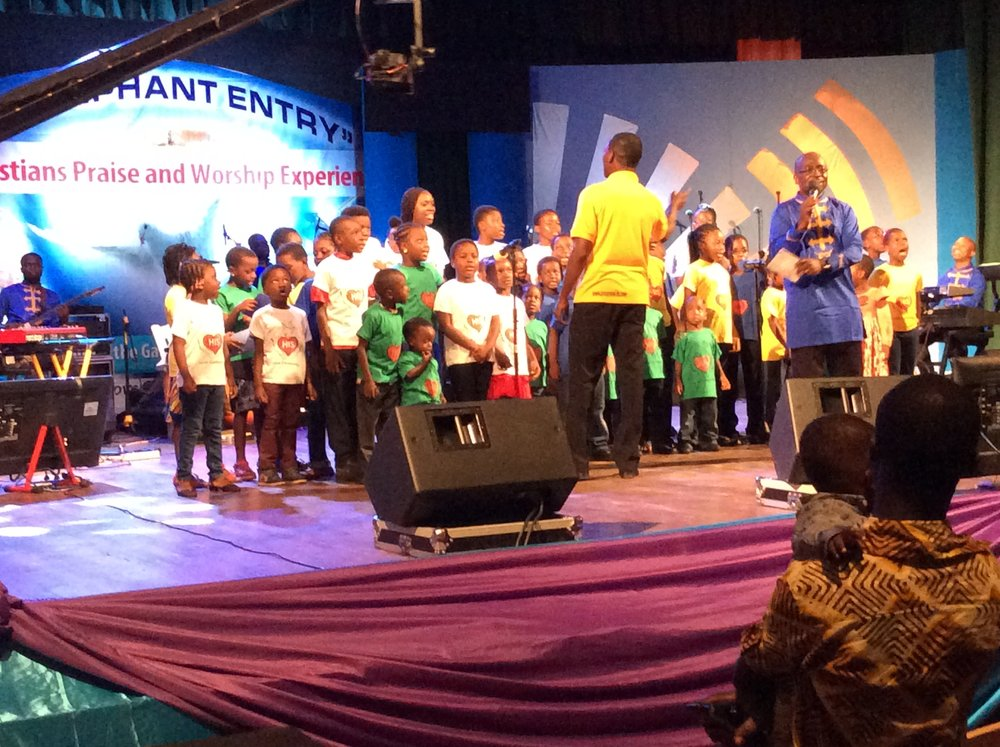 Press On Kids ministering at the Triumphant Entry Concert 2015 at the National Theatre, Accra