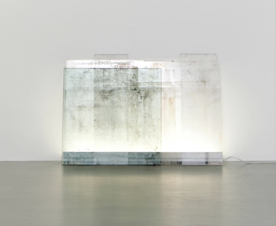 "Matt Neff,  Lambent,  40"" x 48"", glass, plexiglass, mylar, tape, graphite, marker ink, fluorescent light."