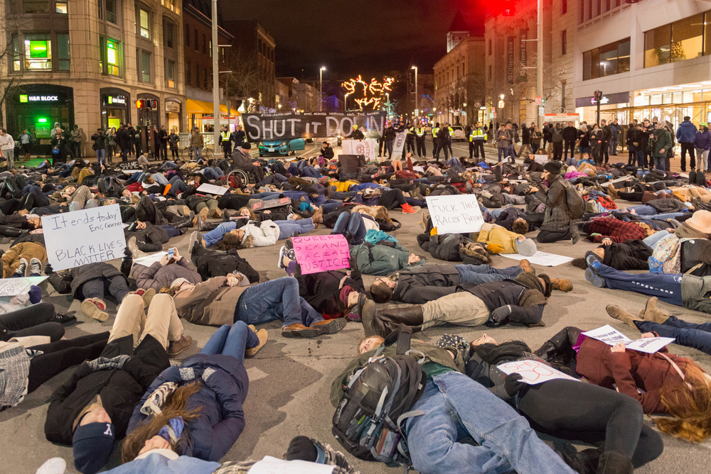 The third die-in of the march in Central Sq.