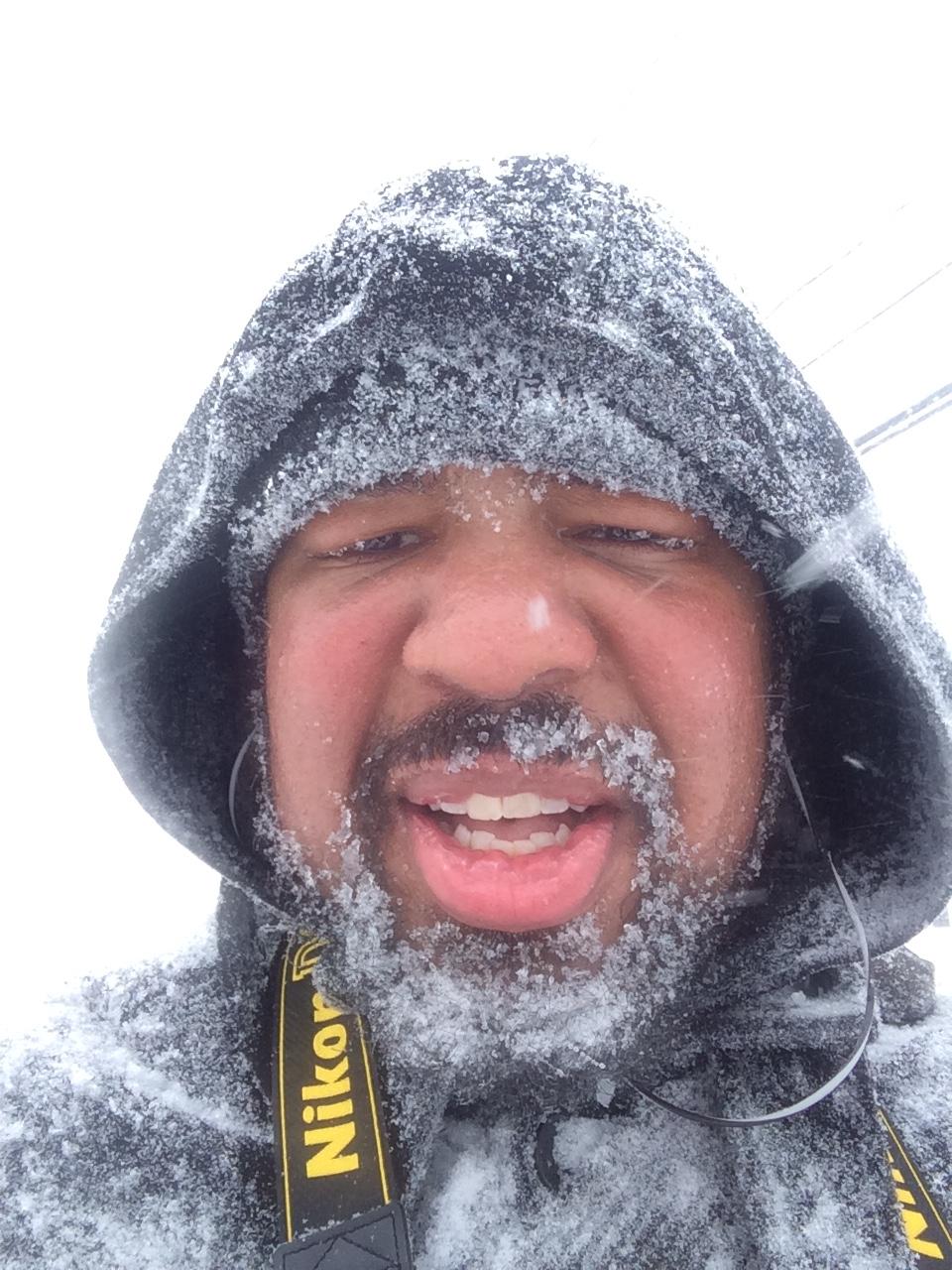 I'm not above a frozen, blizzard selfie
