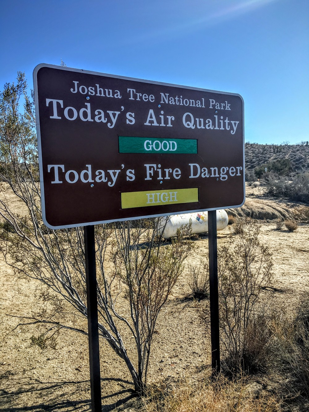 Sign at visitor's center, Joshua Tree National Park