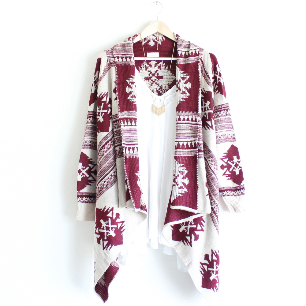 Aztec Waterfall Cardigan in Burgundy from Paper Hearts | MALLORIE OWENS