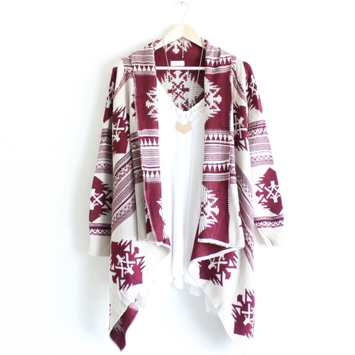 1560f7484beea Aztec Waterfall Cardigan in Burgundy from Paper Hearts