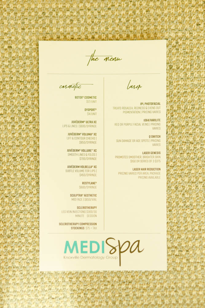 Medispa Knoxville Cosmetic Menu | MALLORIE OWENS