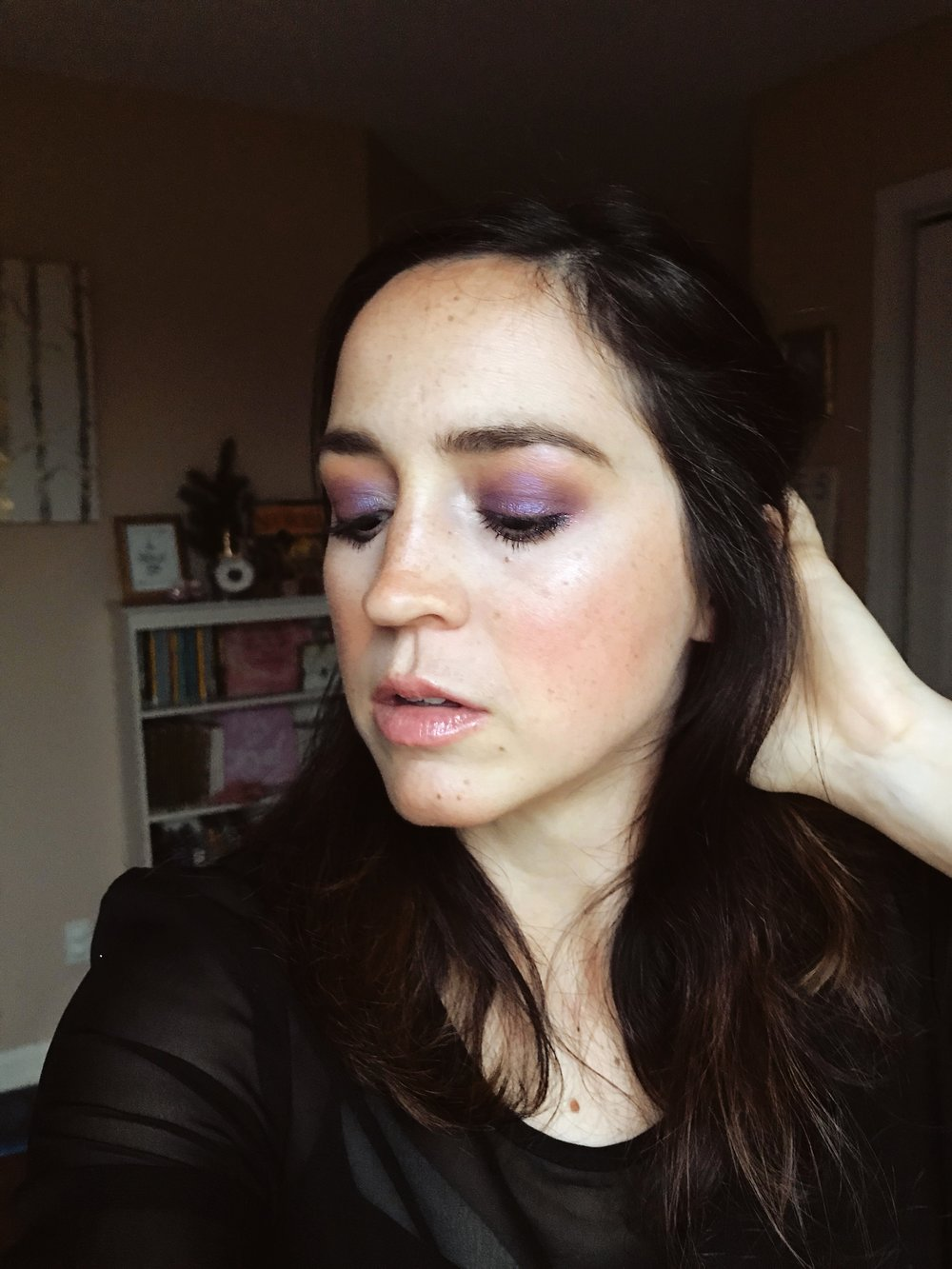 Purple Glitter Festive Eye Makeup Look | Mallorie Owens