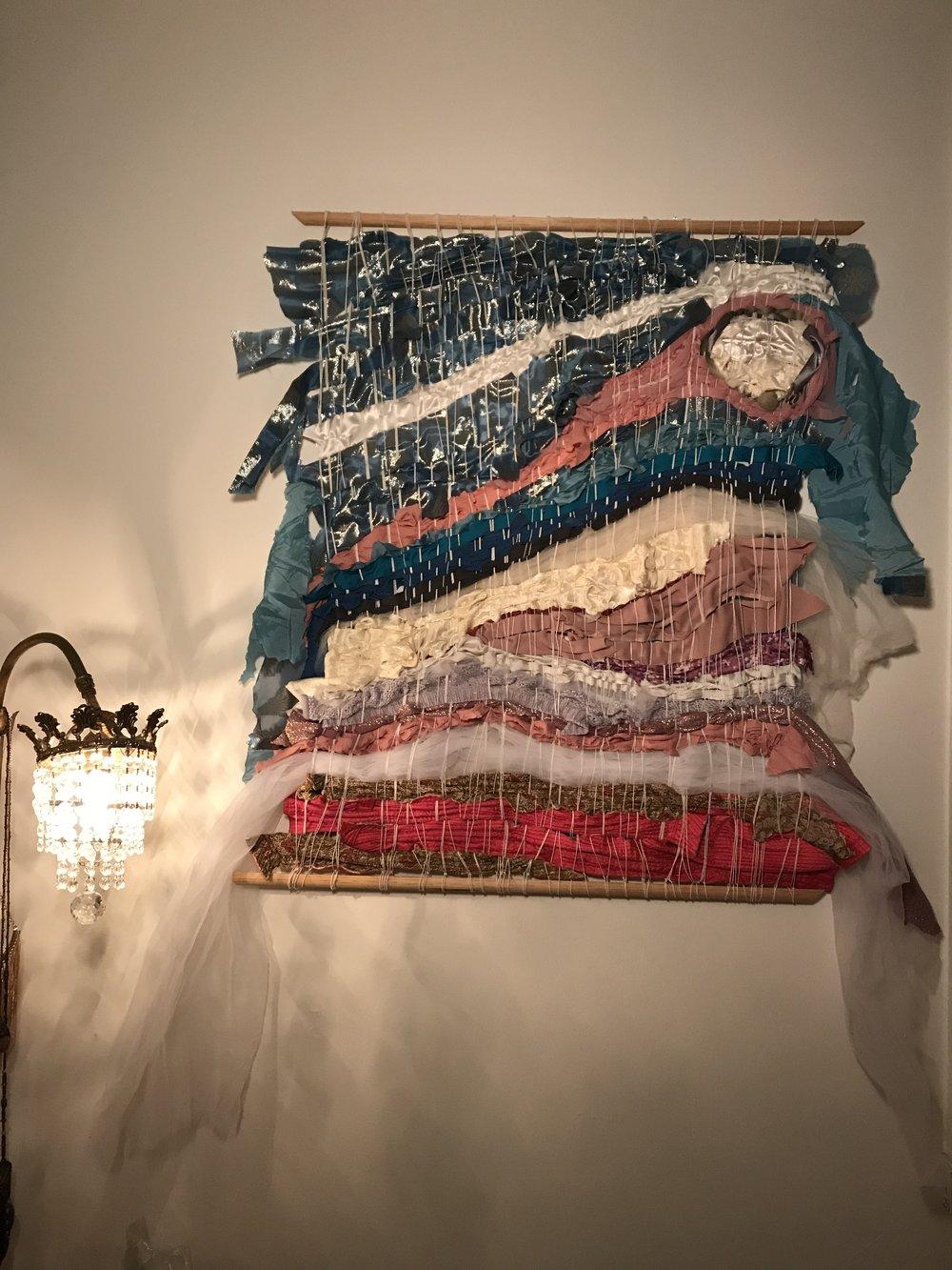 "Winter Sea , Vintage Japanese robe, toile, cotton t-shirts, silk jacket, pink vintage fairy dress, cotton string. 33.5""x .5"" x 39.5"""