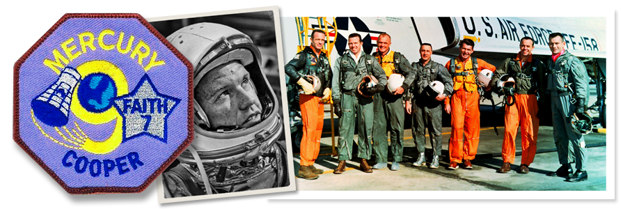 "Gordon Cooper (left) The ""Original Seven"" Mercury astronauts. From left: Scott Carpenter, Cooper, John Glenn, Gus Grissom, Wally Schirra, Alan Shepard, and Deke Slayton. photo credit: NASA"