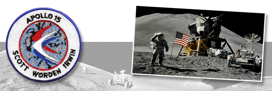 Panoramic photo by Apollo 15 crew. (photo right) Astronaut James B. Irwin, lunar module pilot, gives a military salute. photo credit: NASA