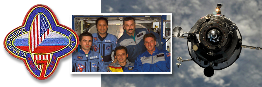 ISS crewmembers from the left (front row) are cosmonaut Yuri I. Malenchenko, Expedition 7 mission commander; European Space Agency (ESA) astronaut Pedro Duque of Spain; astronaut C. Michael Foale, Expedition 8 mission commander and NASA ISS science officer. From the left (back row) are astronaut Edward T. Lu, Expedition 7 NASA ISS science officer and flight engineer, and cosmonaut Alexander Y. Kaleri, Expedition 8 flight engineer. The ISS Progress 38 cargo carrier approaches the International Space Station for docking. photo credit: NASA